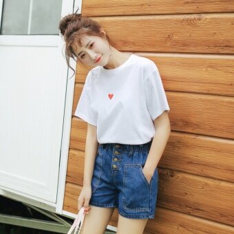 Karaamoo/Karaamoo 2017 summer New style Korean-style round neck short-sleeved loose bottoming love simple solid color T-shirt (White)