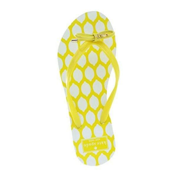 Kate Spade Baru York Kate Spade Nova Wanita Lipat Flops Aneka Cetakan Kuning Ukuran 7-Internasional