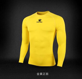 Kelme adult children's stretch long-sleeved workout clothes slim fit clothing (Golden) (Golden)