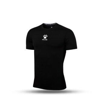 Kelme K15Z731 Men Quick-drying Unitard Pro Thin Short Sleeve High-elastic Wicking Gym Sport T-shirt Straitjacket (Black)