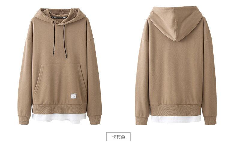 KHAKI Japanese Fashion Men Hoodie 2018 Autumn Pocket New Men's Hooded Jacket Sweater Fake FASHION Two