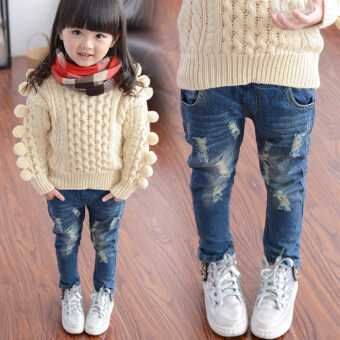 Kids' Korean-style Ripped Long Jeans