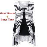 ขาย Kisnow 2 Pecs Lady Geometric Sleeveless Inner Tank Outer Blouse Tops Color Black จีน