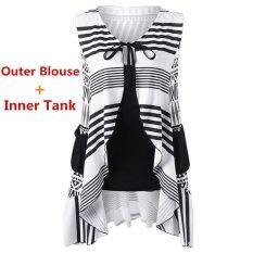 ซื้อ Kisnow 2 Pecs Lady Geometric Sleeveless Inner Tank Outer Blouse Tops Color Black ออนไลน์ จีน