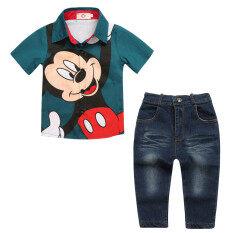 โปรโมชั่น Kisnow 2 Pieces Boys 1 7 Yrs Cotton Cartoon Shirts Jeans Pant Color Main Pic ถูก