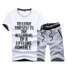 โปรโมชั่น Kisnow 2 Pieces Korean Sports Fashion Pant T Shirt Color Grey