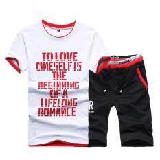 ทบทวน Kisnow 2 Pieces Korean Sports Fashion Pant T Shirt Color Red