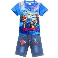 โปรโมชั่น Kisnow 4 12 Years Old Boys 105 145Cm Body Height 2 Pieces Cotton Jeans Pant T Shirts Color Main Pic ถูก
