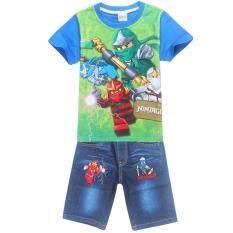 ทบทวน Kisnow 4 12 Years Old Boys 105 145Cm Body Height 2 Pieces Cotton Jeans Pant T Shirts Color Main Pic Kisnow