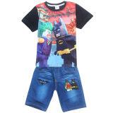 ซื้อ Kisnow 4 12 ปีชาย 105 145 เซนติเมตรความสูงของร่างกาย 2 ชิ้นผ้าฝ้ายกางเกงยีนส์กางเกง เสื้อยืด สี หลัก Pic นานาชาติ ใหม่