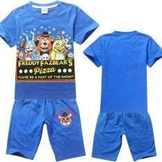 โปรโมชั่น Kisnow 4 16 Years Old Boys 115 165Cm Body Height 2 Pieces Cotton Cartoon Pant T Shirts Color Blue