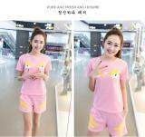 ราคา Kisnow 2 Pecs สปอร์ตสบายๆผ้าฝ้ายกางเกง เสื้อยืด สี สีชมพู นานาชาติ ที่สุด