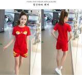 ราคา Kisnow 2 Pecs สปอร์ตสบายๆผ้าฝ้ายกางเกง เสื้อยืด สี สีแดง นานาชาติ ใหม่ล่าสุด