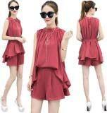 ซื้อ Kisnow Korean Lady 2 Pieces Pant Loose Chiffon Top Shirt Tunics Color Red ใหม่ล่าสุด