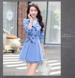 ซื้อ Kisnow ผู้หญิงแฟชั่นเกาหลีปักลงเสื้อกันหนาวเสื้อกันหนาวบาง สี ฟ้าอ่อน สนามบินนานาชาติ Kisnow ถูก