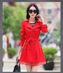 โปรโมชั่น Kisnow ผู้หญิงแฟชั่นเกาหลีปักลงเสื้อกันหนาวเสื้อกันหนาวบาง สี สีแดง นานาชาติ