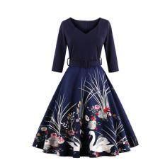 ขาย Kisnow S 4Xl Lady Retro Swan 3 4 Sleeve Middle Waist Pop Maxi Dresses Color Blue Kisnow ผู้ค้าส่ง