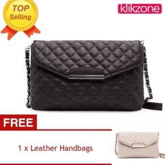 KLIKZONE Women PU Leather Handbag Quilted Plaid Shoulder Bag (Black) [Buy 1 Get
