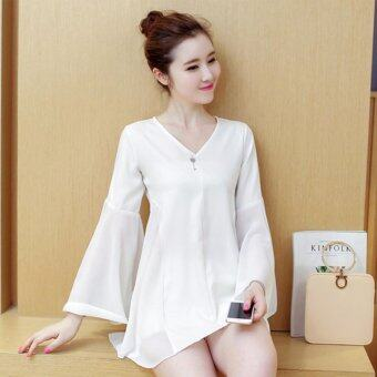 Harga KOREA CHIFFON LOOSE SHIRT (WHITE)