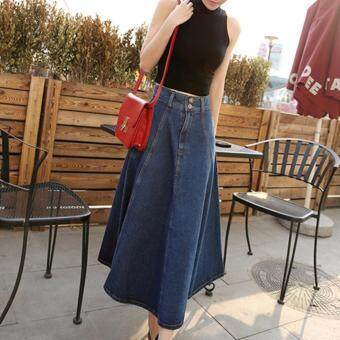 Harga KOREA COWBOY LONG SKIRT (BLUE)