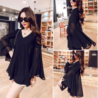 Harga KOREA LOOSE CHIFFON SHIRT (BLACK)