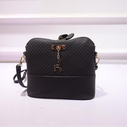 Deer Pendant Fashion Sling Messenger Bag Cross Pattern PU Leather for Women Lady