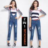 ซื้อ Korean Fashion 2 In 1 Detachable Overall Pure Cotton Loose Pant Jeans Color First Pic ใหม่ล่าสุด