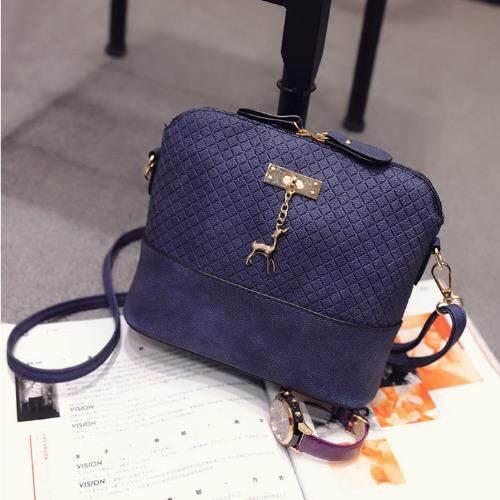Fashion Deer Pendant Sling Strap Messenger Bag Cross Pattern PU Leather for Women Lady