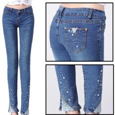 ทบทวน Korean Fashion Diamond Set Pure Cotton Slim Pant Jeans Color First Pic Kisnow