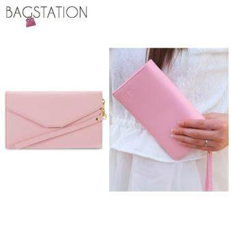 Harga Korean Fashion Faux Saffiano Pattern Leather Multipurpose SmartPhone Large Clutch (Pink)