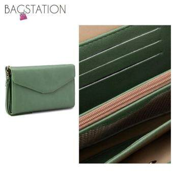 Harga Korean Fashion Faux Textured Leather Multipurpose Smart Phone Large Clutch (Green)
