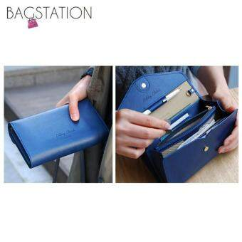 Harga Korean Fashion Faux Textured Leather Multipurpose Smart Phone Large Clutch (Navy Blue)