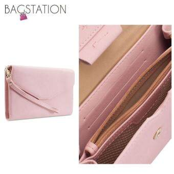Harga Korean Fashion Faux Textured Leather Multipurpose Smart Phone Large Clutch (Pink)