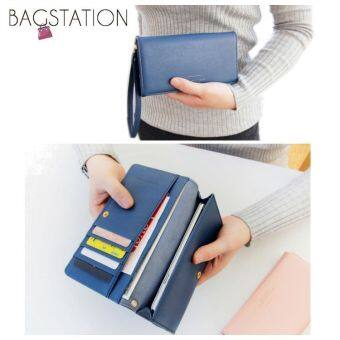 Harga Korean Fashion Iconic Faux Leather Multifunction Smart Phone Wallet/Pouch Navy Blue