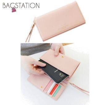 Harga Korean Fashion Iconic Faux Leather Multifunction Smart PhoneWallet/Pouch Pink