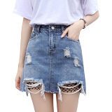 ขาย Korean Fashion Lady Fish Net Jeans Midi Skirt Color Blue ถูก จีน