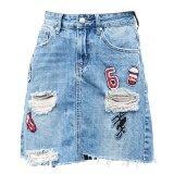 ขาย Korean Fashion Lady Tassel Jeans Midi Skirt Color First Pic ออนไลน์