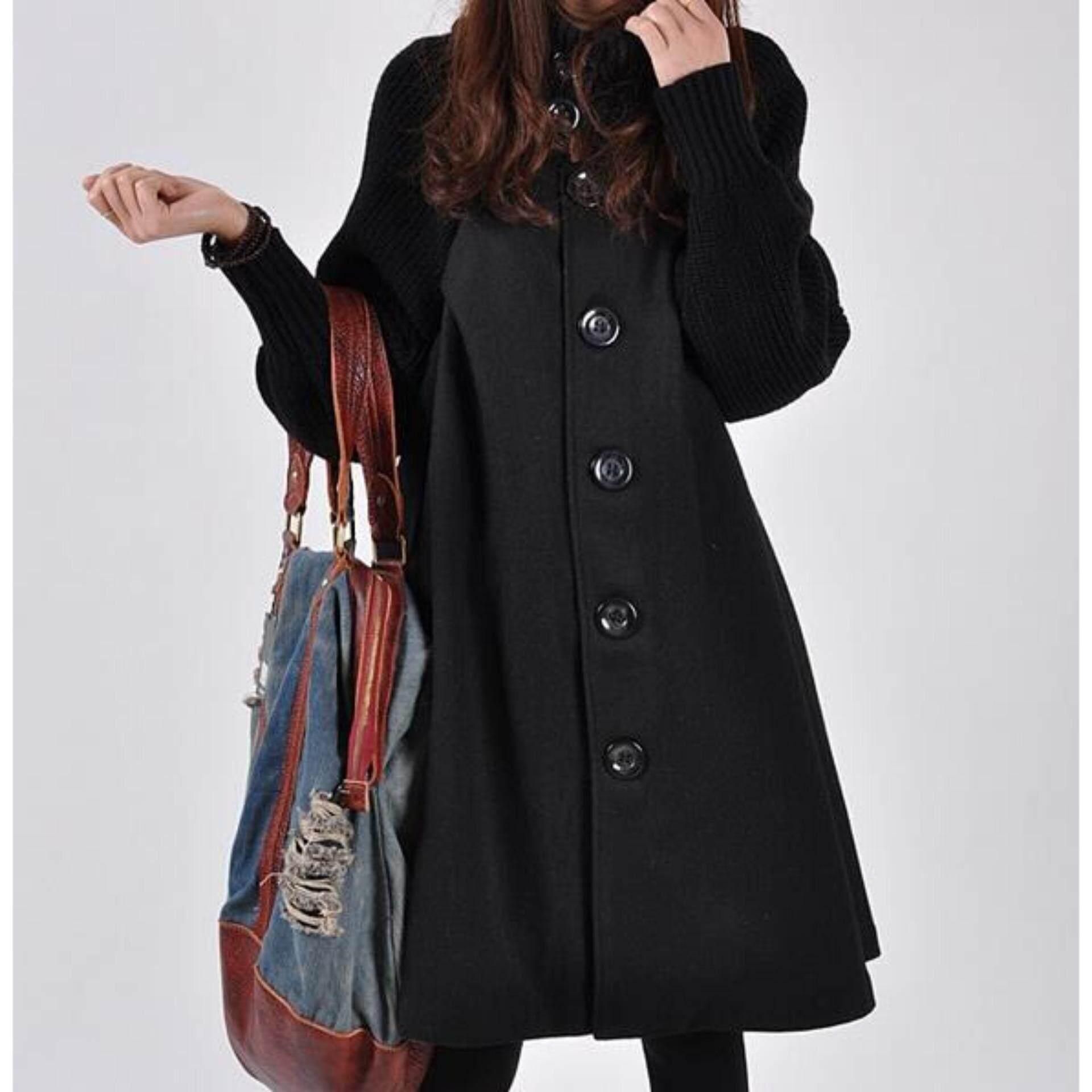 ขาย Korean Fashion Women Plus Loose Wool Jackets Coats Autumn Winter G*rl Lady Plus Cape Coat Overcoat Casual Button Jacket Intl ถูก จีน