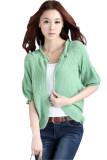 (RAYA 2019) Korean Short Sleeve Knitted Wrap Around Cardigan Green