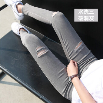 Korean-style black female outer wear long pants bottoming pants (The rich satin gray three holes) (The rich satin gray three holes)