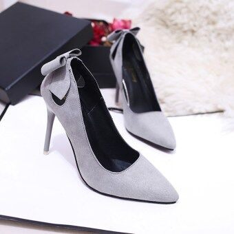 Korean-style black spring porous high-heeled shoes sexy shoes (Gray Butterfly knot) (Gray Butterfly knot)