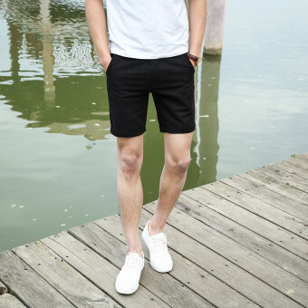 Korean-style boy's Slim fit 3 points shorts Super shorts (Black)