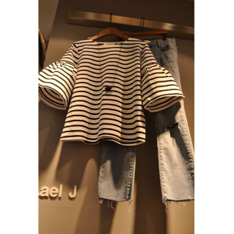 Korean-style cotton loose horn short-sleeved Top Women's striped T-shirt