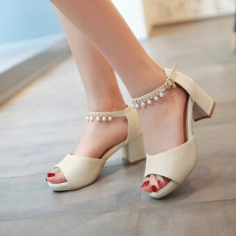Korean-style crystal A-line with student women's shoes sandals (Beige boutique edition have drilled) (Beige boutique edition have drilled)
