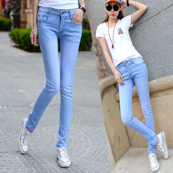 Korean style fashion Women Skinny High Waist Full Length JeansDenim Stretch Elastic Pencil Pants-light blue