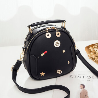 Korean-style female New style cross-body handbag bag (Black)