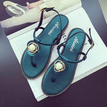 Harga Korean-style female New style fashion crystal sandals (Green) (Green)