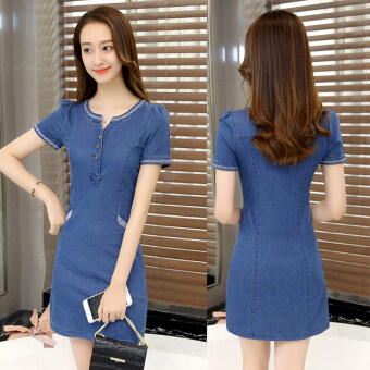 Korean-style female Slim fit Slimming effect denim skirt denim dress (Deep denim blue) (Deep denim blue)