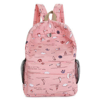 Korean-style High School Students female backpack canvas school bag (Pink)