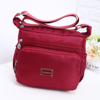 Korean-style large capacity shoulder cross-body waterproof cloth bag nylon women's bag (Dark Red)